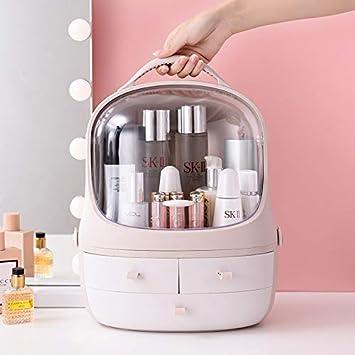 Caja de almacenamiento Cosméticos Pingüino Cajón Cosmético Maquillaje transparente Organizador Exhibidor de estantes Cajas impermeables Estuche para recipientes (Double door Pink, L: 31.5*27.5*40.5cm): Amazon.es: Salud y cuidado personal
