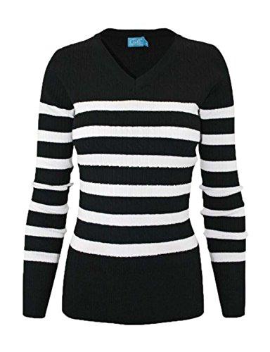 makeitmint Women's V-Neck Stripe Pull Over Knit Sweater Top XL YISW0006_Blackwhite