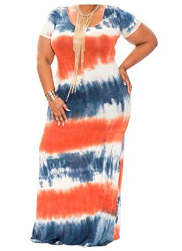 Jaycargogo Dress Sleeve Dye Maxi Plus Tie Size Women Loose Short 5 Dress Casual Long Yrw1YXq