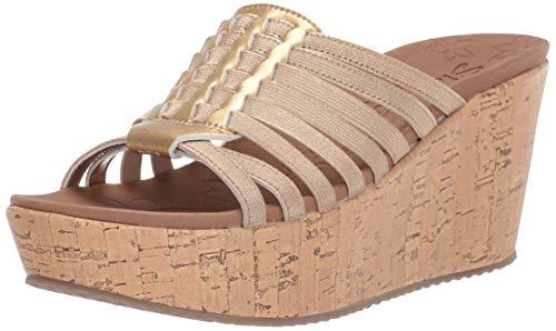 Skechers Women's BRIT-Girl Wonder-Wedge Stretch Huarache Slide Sandal, Gold 8 M US (Slide Stretch Sandal)