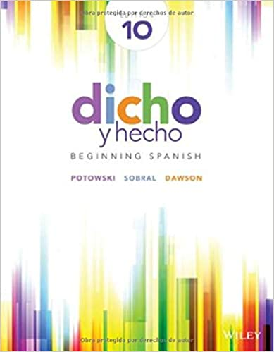 Dicho y hecho 9th edition volume 1 chapters 1-8 for lamar.