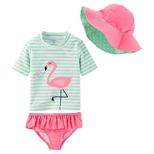 New William Carter Co Little Girls 3 Pc Swim Set Ruffle Bottom, Tankini Top, Reversible Hat (Flamingo, 7T)