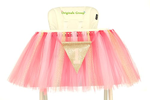 Originals Group 1st Birthday Pink Gold Tutu for High Chair Decoration for Party Supplies