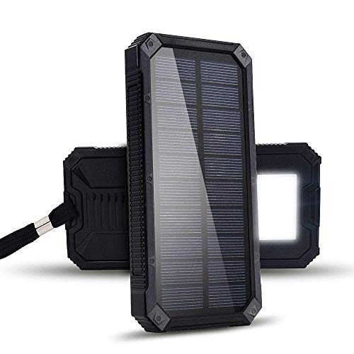Solar Charger 20000mAh, Dr. Prepare Portable Power Bank Solar Panel Charger IP66 Water-Resistant with Dual USB Ports and LED Flashlight External Battery Pack for iPhone, iPad, Samsung Galaxy