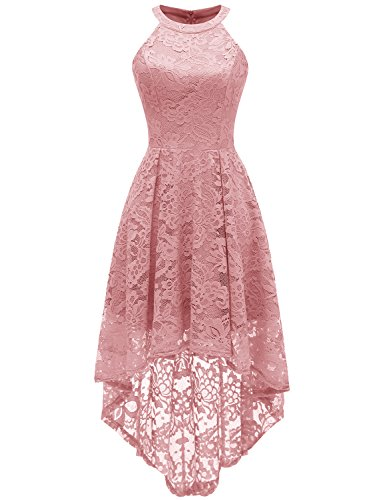 Light Pink Cocktail Dresses - Dressystar 0028 Halter Floral Lace Cocktail Party Dress Hi-Lo Bridesmaid Dress L Blush