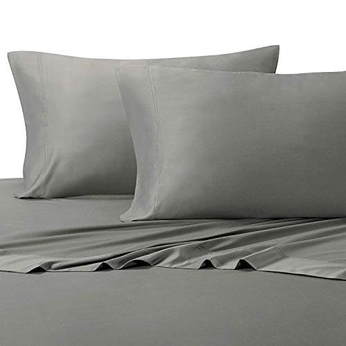 Cal King Split Top - Solid Gray Top-Split-CalKing: Adjustable California King Bed Size Sheets, 4PC Bed Sheet Set, 100% Cotton, 300 Thread Count, Sateen Solid, Deep Pocket, by Royal Hotel