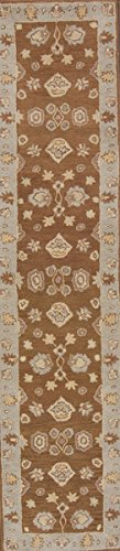 Rug Source New Agra All-Over Floral Hand-Tufted 3x12 Brown Wool Oriental Runner Rug (2' 7