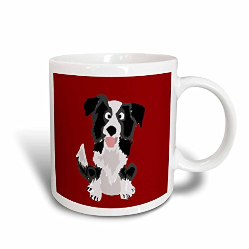 3dRose mug_218083_2 Funny Border Collie Puppy Dog Art Ceramic Mug, 15 oz, White