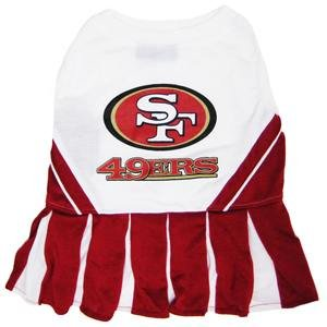 Pets First NFL San Francisco 49ers Dog Cheerleader Dress, Small