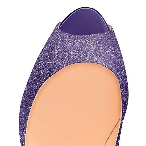 Dress Scarpe Piattaforma Pan Festa Peep Stiletti Viola Fondo Alti Glitter Caitlin On Sandali Slip Rosso Toe col Pompe Tacchi Tacco Donna Oqwx8S6