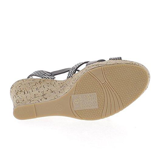 Sandales compensées noires et serpent à talon de 9cm aspect cuir fines brides