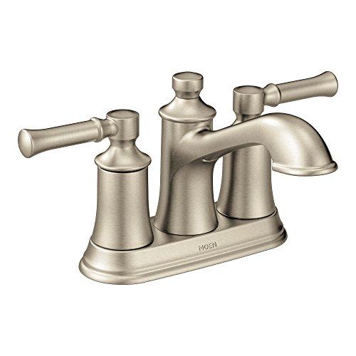 Moen 6802BN Dartmoor Two-Handle Low Arc Bathroom Faucet, Brushed Nickel