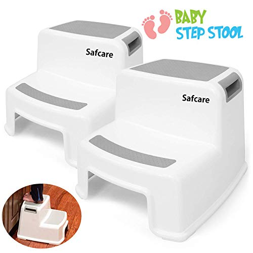 2 Step Stool for Kids (2 Pack), Toddler Stool for Toilet Potty Training Slip Resistant Soft Grip for Safety as Bathroom Potty Stool and Kitchen Dual Height and Wide Two Step