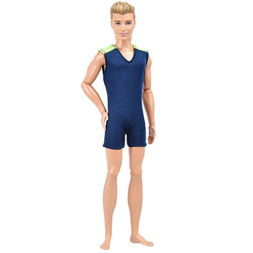 E-TING Cool Beach Swimsuit Bathing Doll Clothes One-piece Swimwear for Ken Dolls New Arrivals (Dark Blue)