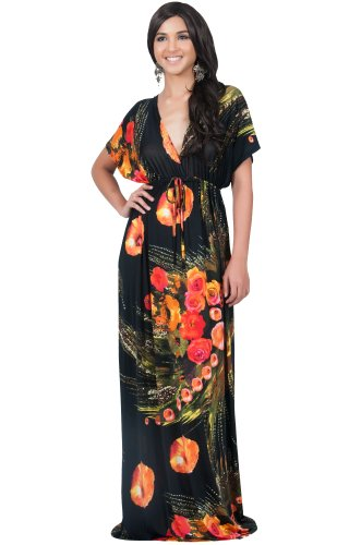 KOH KOH Womens Long V-Neck Summer Short Sleeve Floral Print Sexy Gown Maxi Dress
