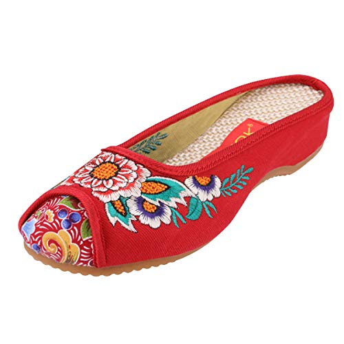 CINAK Embroidery Flats Slippers Flower- Casual Slip-ons Comfortable Loafer Chinese Embroidered Shoes Ballet Flats(9.5-10 B(M) US/UK7.5-8/EU42/CN43/26.5CM,Red)