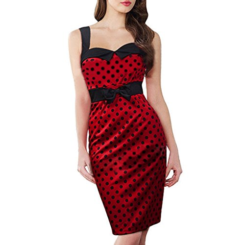 Cravog Robe Rockabilly Pin Up Retro Vintage Polka Dot Robe de Soirée Cocktail