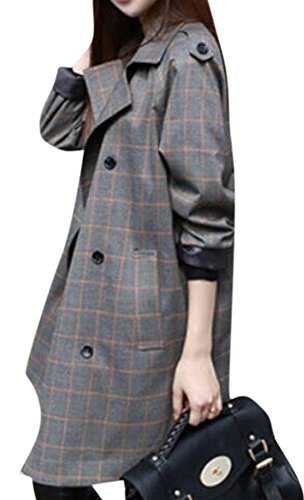enlishop-women-casual-lapel-button-plaid-long-trench-coat-outwear-jacket-grey