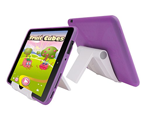 Purple TPU Rubber Cover Case and Multi-Angle View Stand Holder for Trio Stealth G5 7.85