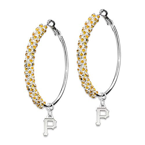 MLB Pittsburgh Pirates PITTSBURGH PIRATES AMPED LOGO CRYSTAL EARRINGS Size One ()