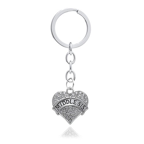4pcs Women Girl Gift Big Middle Little Baby Sister Love Heart Pendant Key Chain Ring Set Family Jewelry (4pcs White B/M/L/B Sister Key Chains) Photo #5