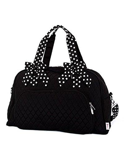 Belvah Quilted Solid Large Weekender Duffel Bag (Black/White)