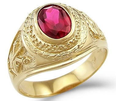 New Solid 14k Yellow Gold Mens Fashion Red Simulated Ruby