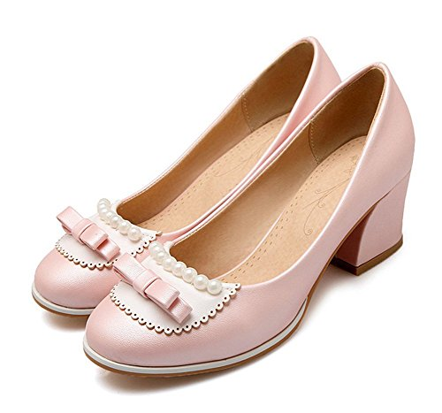 Aisun Womens Sweet Beaded Round Toe Low Tops Dressy Block Kitten Heels Pumps Slip On Shoes With Bows Pink