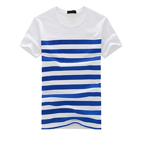 vermers Men's Stripe T Shirts Fashion Casual Printed Short Sleeve Pullover Tops Tee(XL, Blue)