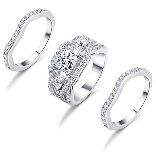 Hanpabum 3Pcs 18K White Gold Plated Clear Cubic Zirconia Finger Ring Sets Stackable Wedding Engagement Promise Rings (9) ()