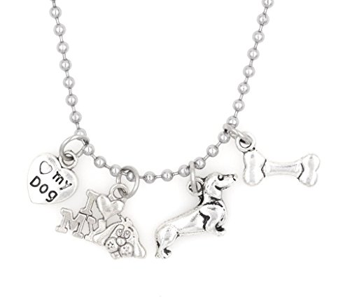 "It's All About...You! 21.6"" 2.4mm Stainless Steel Ball Chain Necklace I Love My Dog Bone Heart I Love My Dog Dachshund 34R"