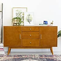 New 60 Inch Wide Mid-Century Modern Television Stand in Acorn Finish
