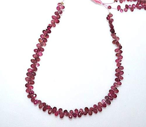 Pink Tourmaline Faceted Drops - Gems-World Jewelry 1 Strand Pink Tourmaline Faceted Tear Drop Beads - Tourmaline Tear Drop Briolette, Sold by Strand, 4x2.5-5x3 mm, 8.5