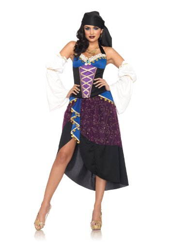 Tarot Card Gypsy Costumes (Leg Avenue Women's 4 Piece Tarot Card Gypsy Costume, Purple/Blue, Large)