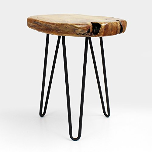 WELLAND Live Edge Side Table with Hairpin Legs, Natural Edge Side Table, Small Nightstand Wood, 15.5'' Tall by WELLAND (Image #1)