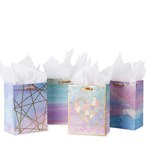 "Loveinside Medium Size Gift Bags-Coloful Marble Pattern Gift Bag with Tissue Paper for Shopping,Parties,Wedding, Baby Shower, Craft-4 Pack-7"" X 4"" X 9"""