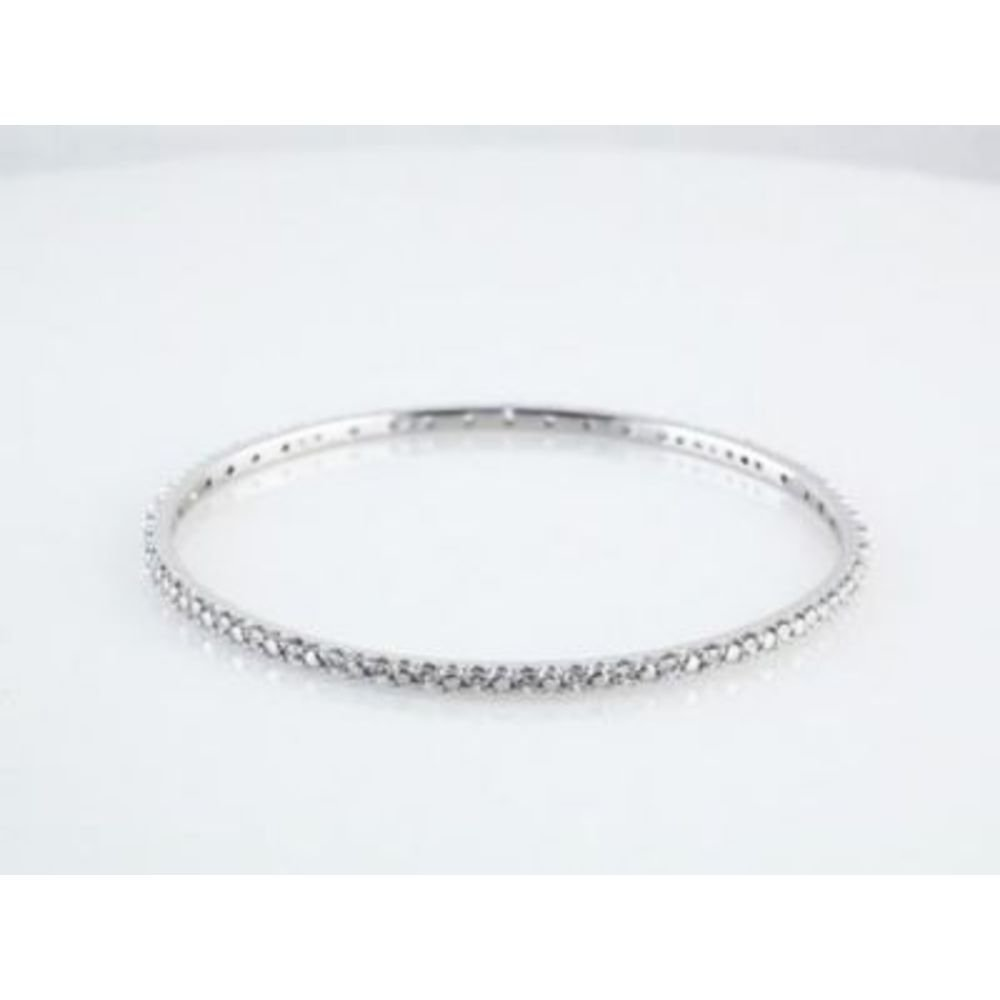 Cubic Zirconia Sterling Silver Cubic Ziconia Bangle Bracelet