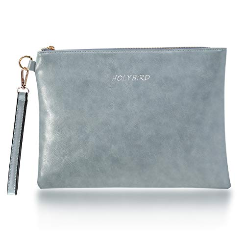 Women's PU Wristlet Wallet Purse Big Clutch Handbag with Zipper Ball Party Bag for Girl Grey by HOLYBIRD (Image #7)