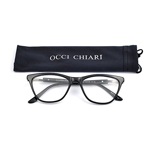 OCCI CHIARI Women Vintage Acetate Eyeglasses Frame With Clear Lenses Alpe(Black, - Black Eyeglasses Frame