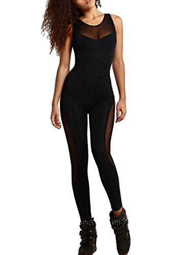 [Girls Summer O Neck Open Back Cut out Gym Running Wear Legging Pant Suit Black M] (Black Spandex Suit)