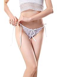Vivly Bodas Women's Side Tie Open Crotch Lace Thong Panties