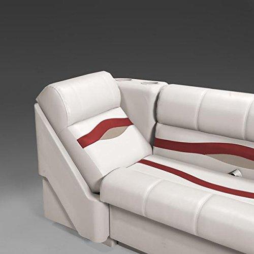 DeckMate Premium Right Pontoon Lean Back Seat (Ivory/Burgundy/Tan) ()