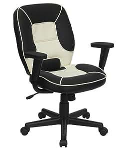 Flash Furniture BT-2922-BK-GG Mid-Back Vinyl Steno Executive Office Chair, Black/White