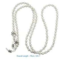 White Pearl Beaded Eyeglasses Reading Glasses Chain Holder Cord by STCorps7