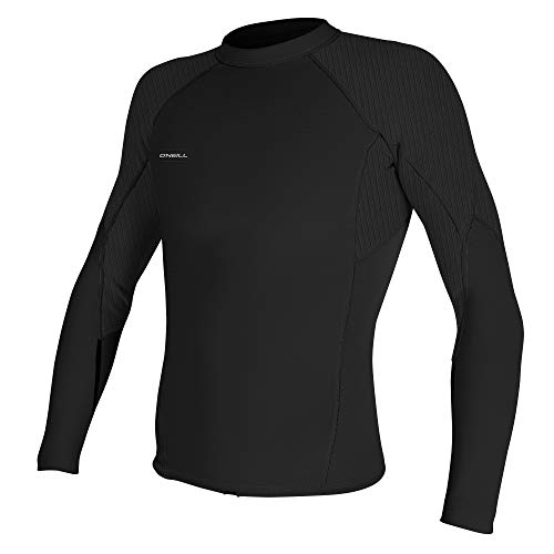 O'Neill Men's Hyperfreak 1.5mm Long Sleeve Top, Black/Black, Large Tall