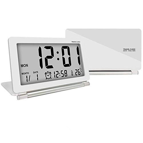 econoLED Digital Clock,Travel Clock, Multifunction Silent LCD Digital Large Screen Travel Desk Electronic Alarm Clock, Date/Time/Calendar/Temperature Display, Snooze, Folding (White+Silver)