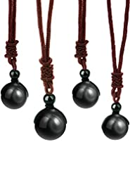 4 Pack Natural Black Obsidian Necklace D...