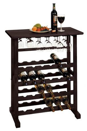 Cheap Vinny 24-Bottle W Glass Hanger Wine Rack In Dark Espresso Finish by Winsome's home