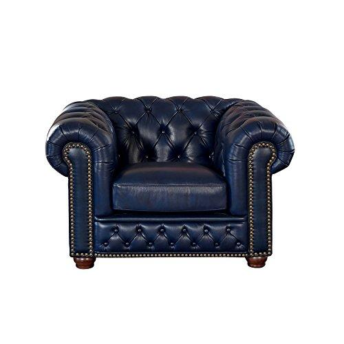 Coja by Sofa4life Pinehurst Leather Chair, Blue