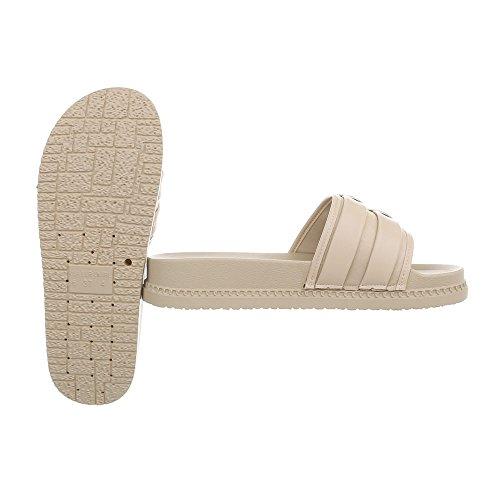 Femme Mules 958 Beige 1 Chaussures Ital Plat Design Sandales E0gXcxw